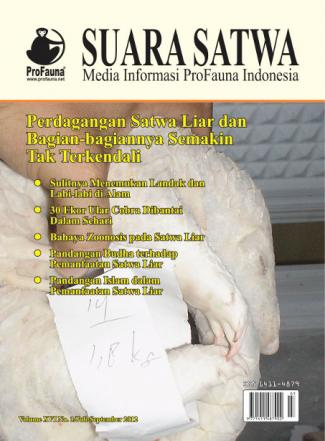 Cover Suara Satwa Online Volume XVI No. 3/Juli - September 2012