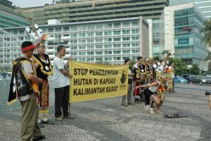 Together with Dayak tribe communities, ProFauna campaigns against deforestation in Kapuas committed by a logging company